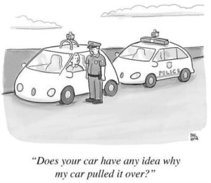 Paul Noth New Yorker Cartoon of a policeman in a futuristic police car who has pulled over another futuristic looking car