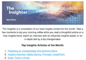 Image from The Insighter Blog, listing articles about Kelley Styring's OmniShopper17 presentation ranked in the top 3.